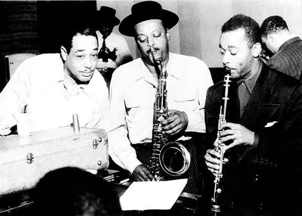 From L to R: Duke Ellington, Ben Webster, Jimmy Hamilton